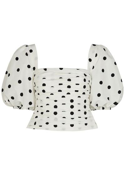 White polka-dot taffeta top