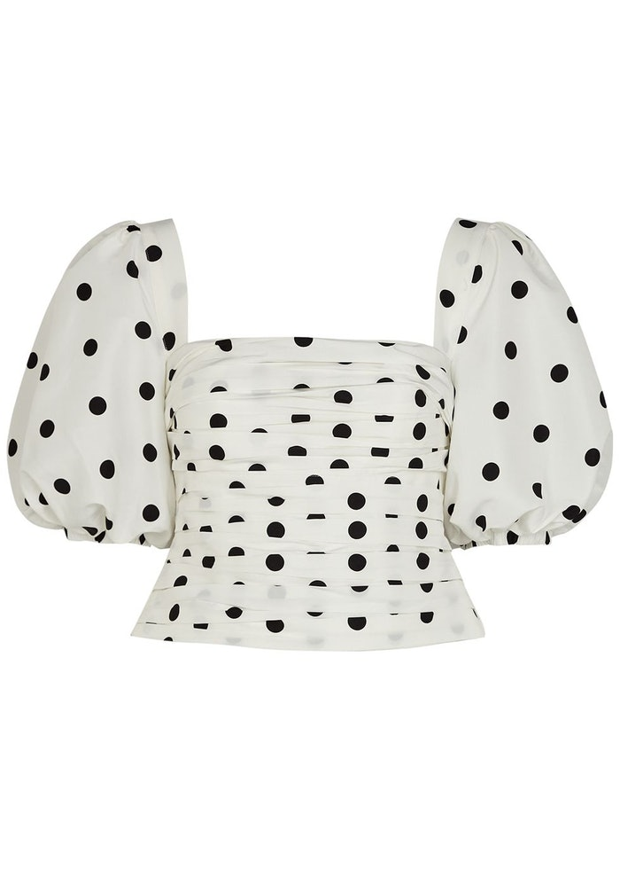White polka-dot taffeta top: image 1
