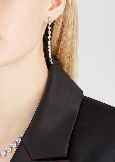 Monarch crystal-embellished silver-tone drop earrings