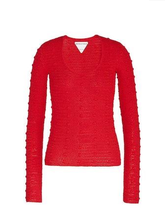 Pom Pom Mesh Crewneck Sweater: image 1