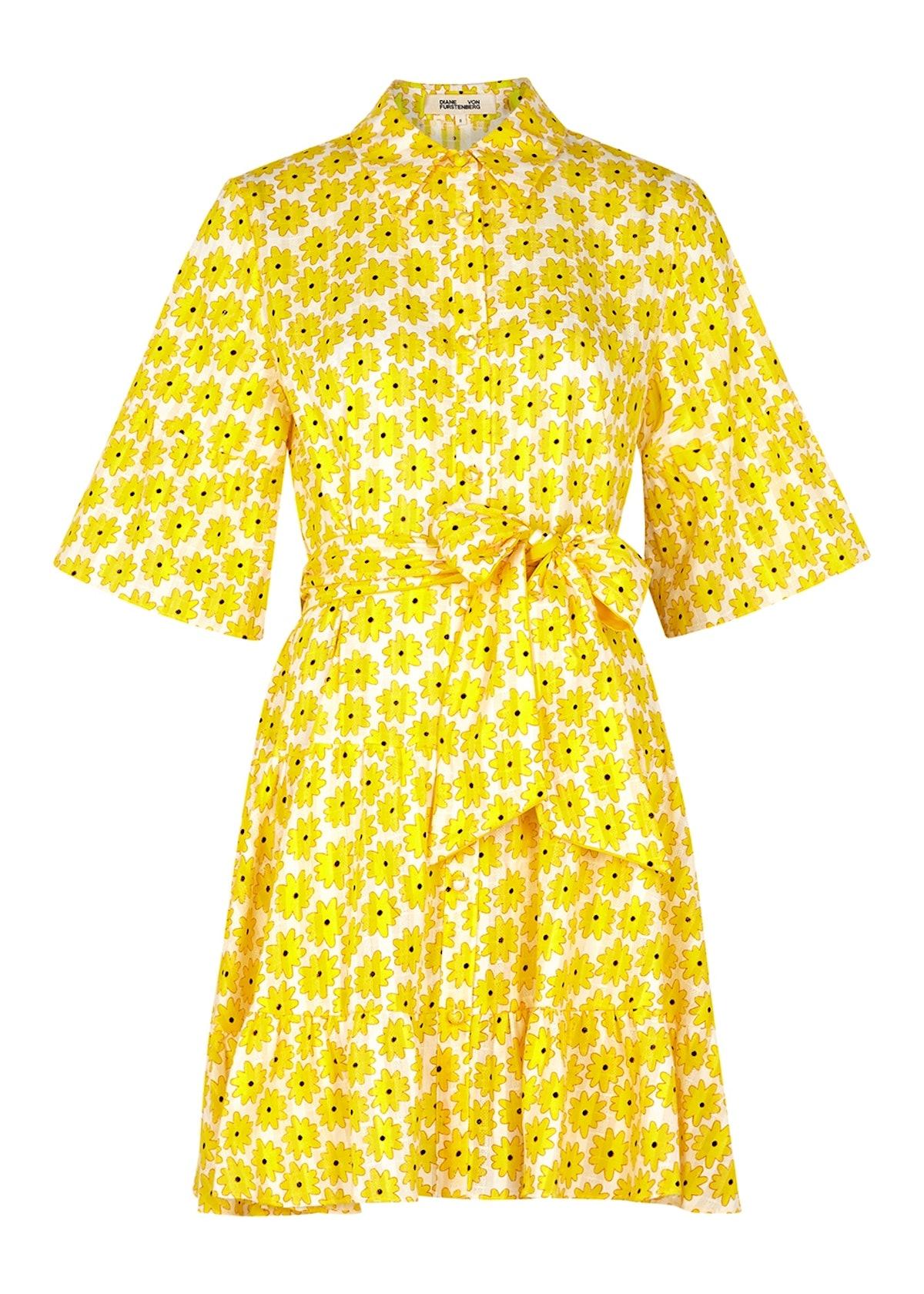 Beata floral-print cotton mini dress: image 1