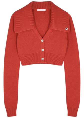 Red cropped cotton-blend cardigan: image 1