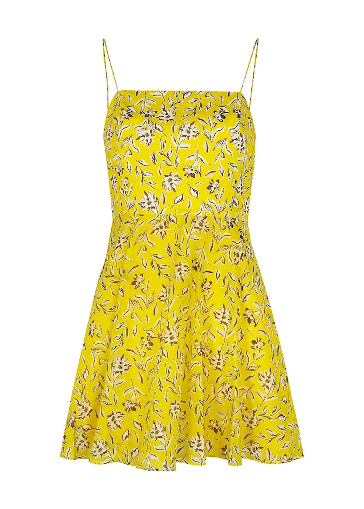 Glinda yellow floral-print mini dress: image 1