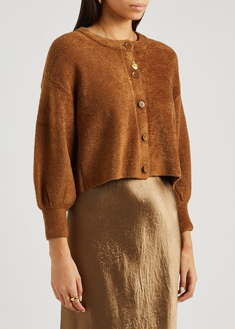 Sylvie brown cropped chenille cardigan: image 1
