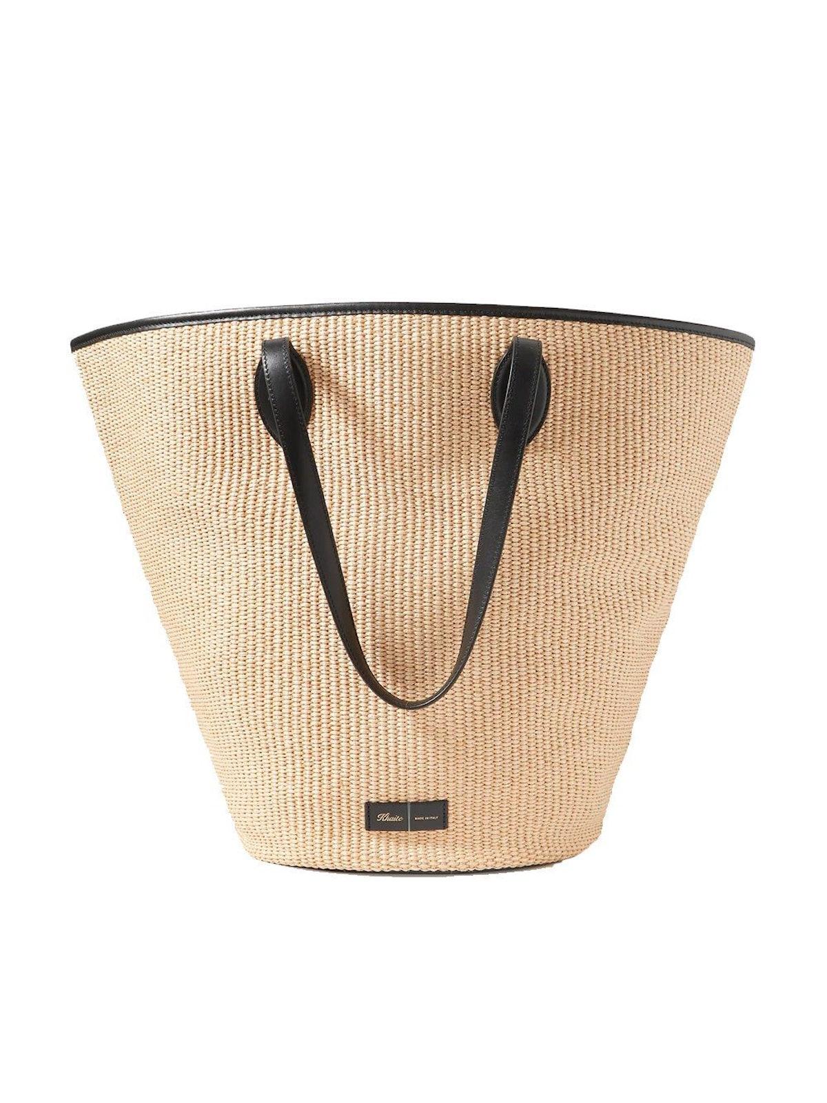 Osa Leather-Trimmed Raffia Tote: image 1