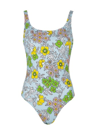 Blue printed swimsuit: image 1