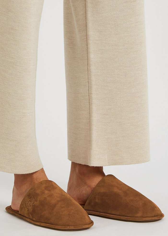 Brown suede slippers: image 1