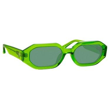 The Attico Irene Angular Sunglasses in Green: image 1