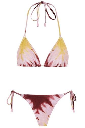 Shelly Mini Tri Bikini Set in Yellow Tie Dye: image 1