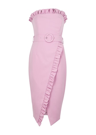 Pink strapless belted midi dress: image 1