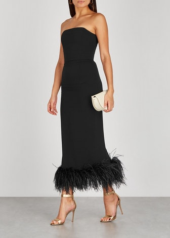 Minelli black feather-trimmed midi dress: image 1