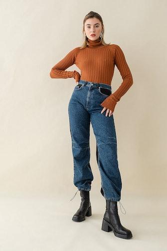 Extra Long Sleeve Ribbed Bodysuit: image 1
