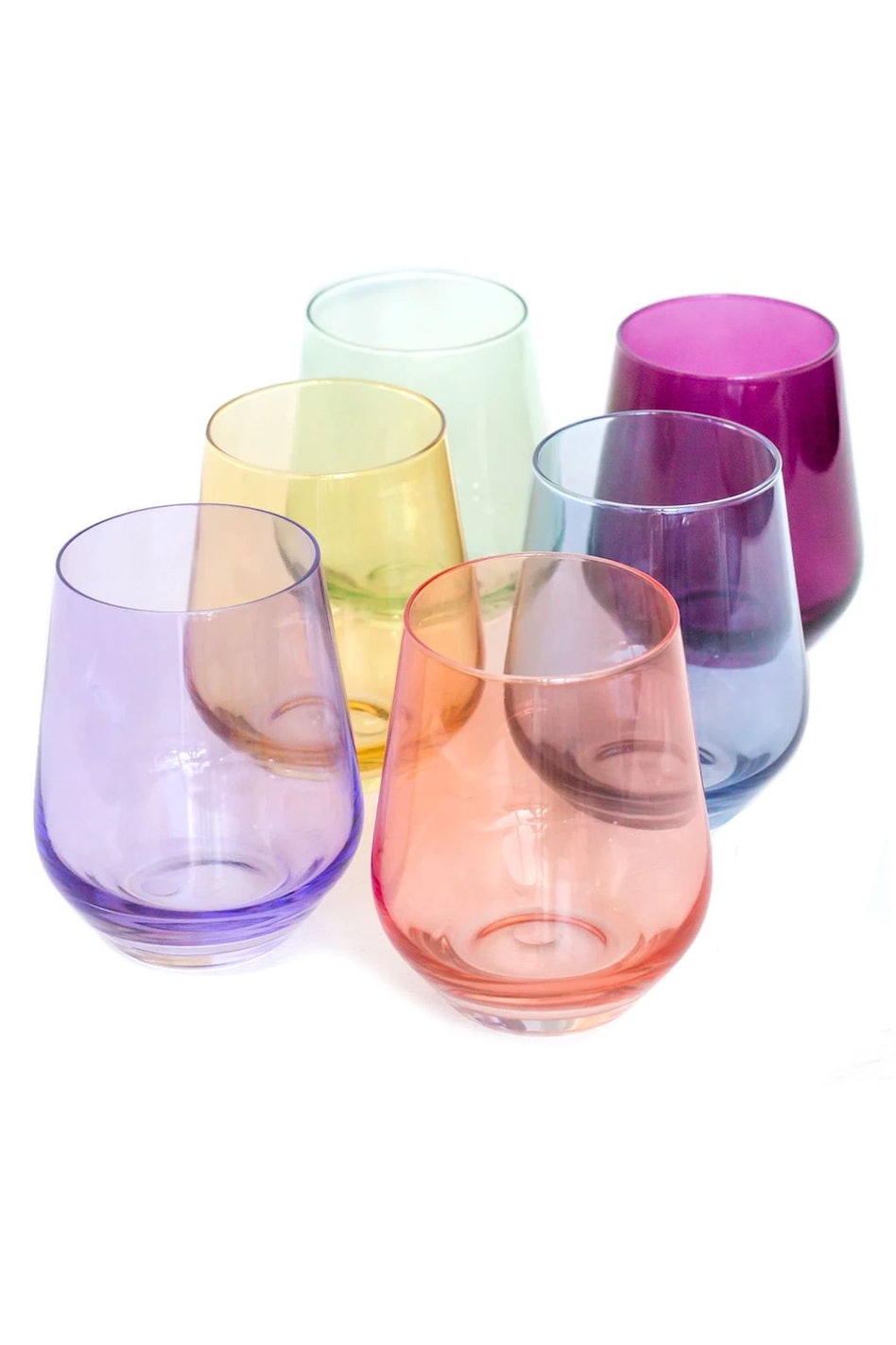 Colored Stemless Wine Glasses in Mixed - Set of 6: image 1