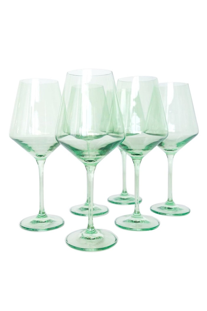 Colored Wine Stemware in Mint Green - Set of 6: image 1