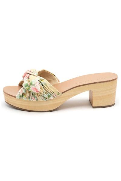 Regina Clog Slide Sandal in Tan Floral