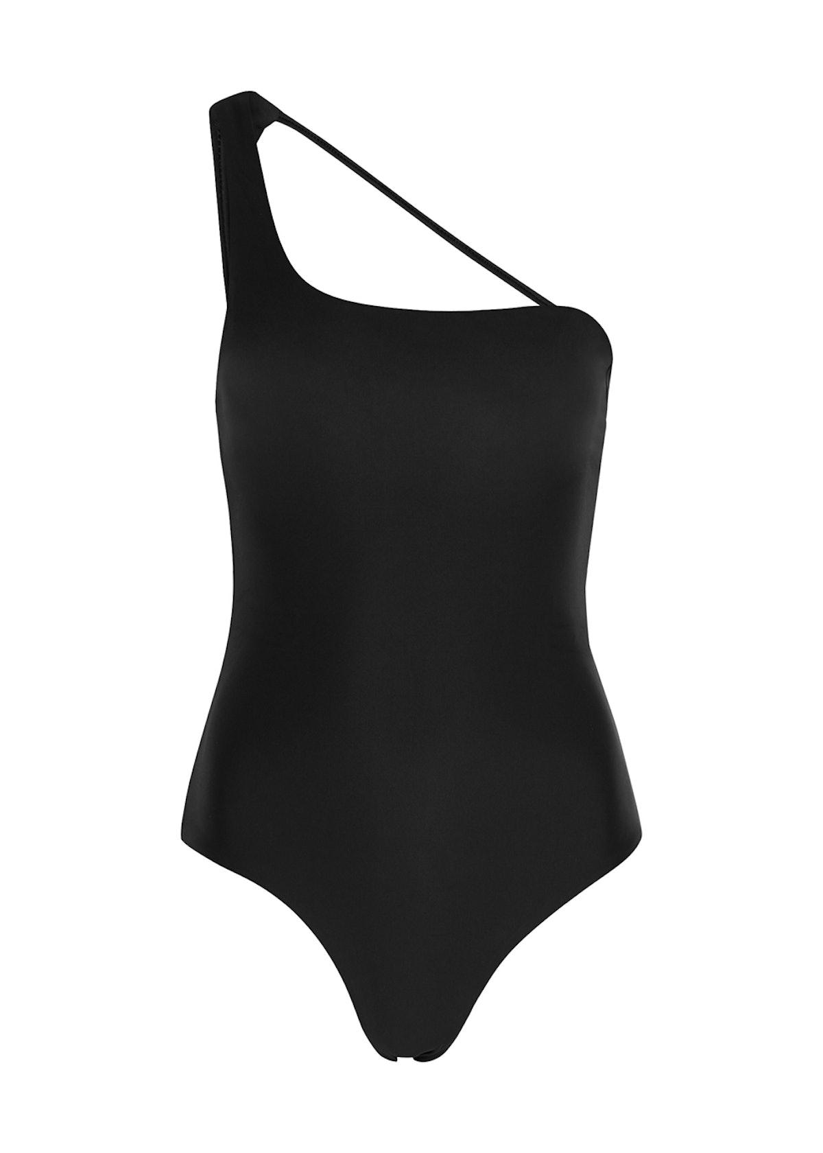 Apex black one-shoulder swimsuit: image 1