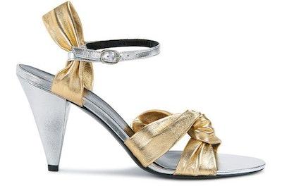 Celine Triangle Heel Twisted Sandal in Laminated Nappa Lambskin: image 1