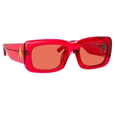 The Attico Marfa Rectangular Sunglasses in Red: additional image