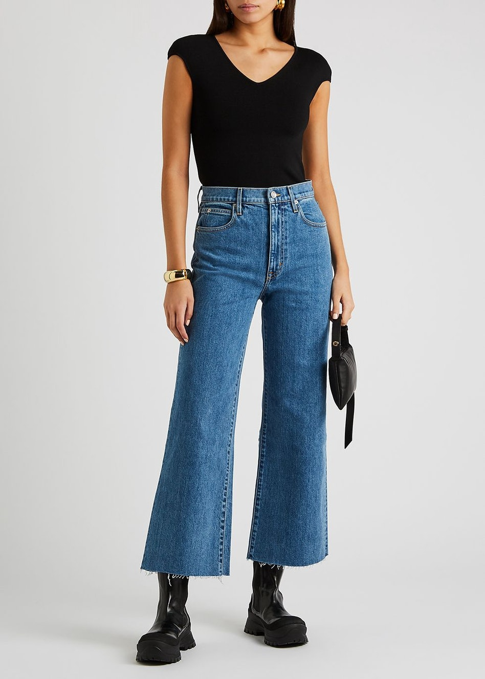 Grace blue wide-leg cropped jeans: additional image