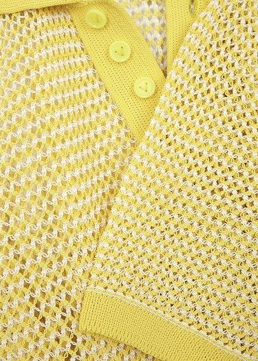 Yellow open-knit mesh polo shirt: additional image