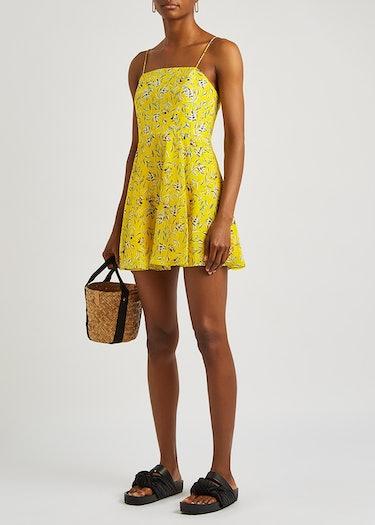 Glinda yellow floral-print mini dress: additional image