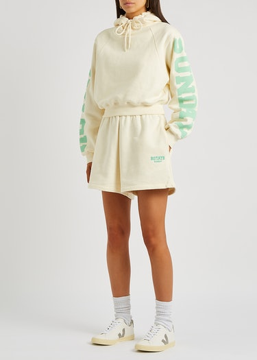 Roda cream logo cotton shorts: additional image