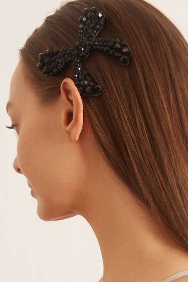 Large Bow Hair Clip in Jet: additional image