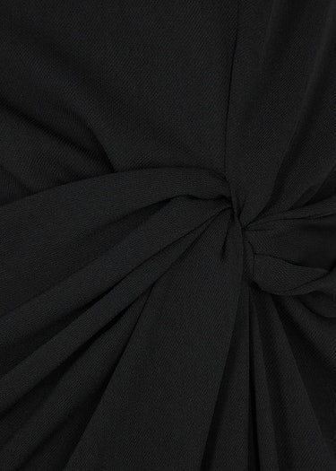Maika black feather-trimmed midi dress: additional image