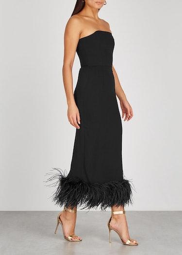Minelli black feather-trimmed midi dress: additional image