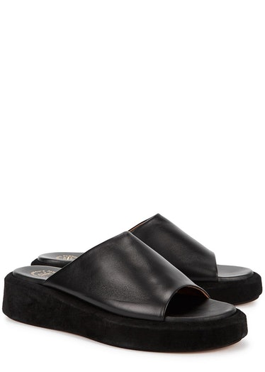 Pacci 50 black leather flatform sliders: image 1