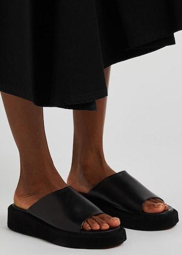 Pacci 50 black leather flatform sliders: additional image