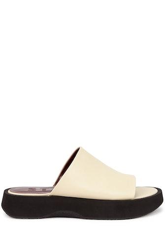 Alpine cream leather flatform sliders: image 1