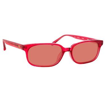 The Attico Gigi Rectangular Sunglasses in Red: image 1
