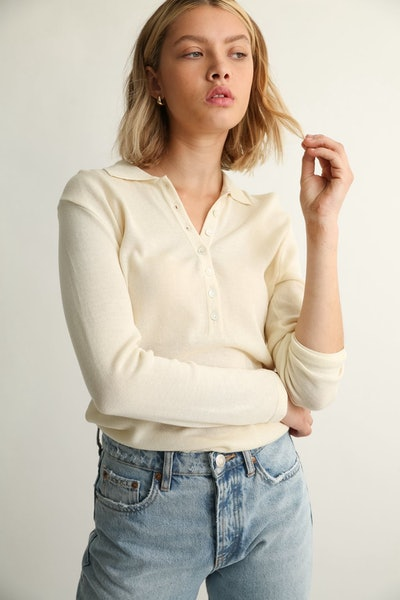 Button Up Polo Knit Top: image 1