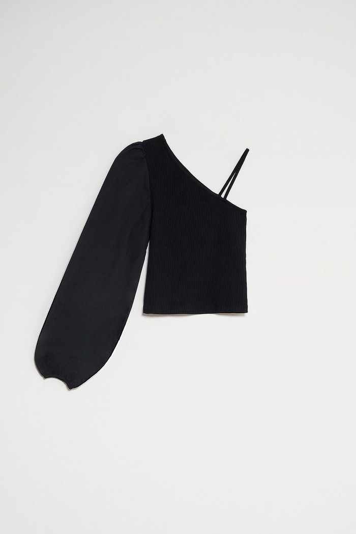 One Shoulder Puff Sleeve Top: image 1