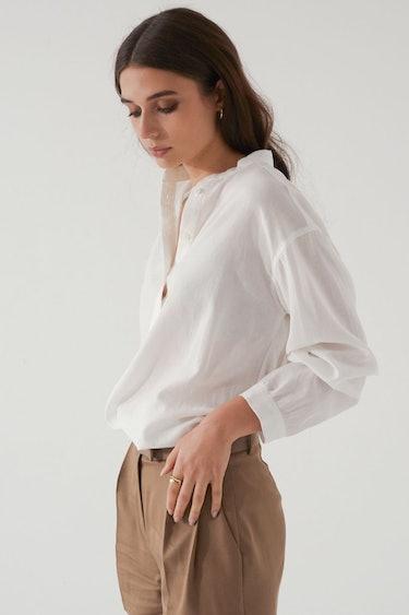 Band Collar Button Up Shirt: image 1
