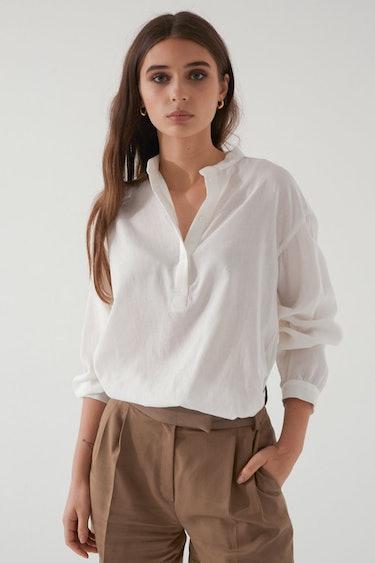 Band Collar Button Up Shirt: additional image