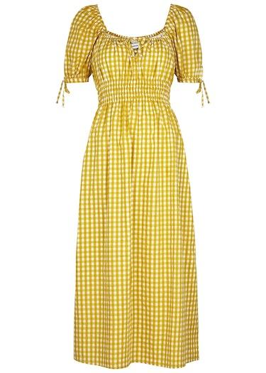 Flora yellow checked cotton midi dress: image 1