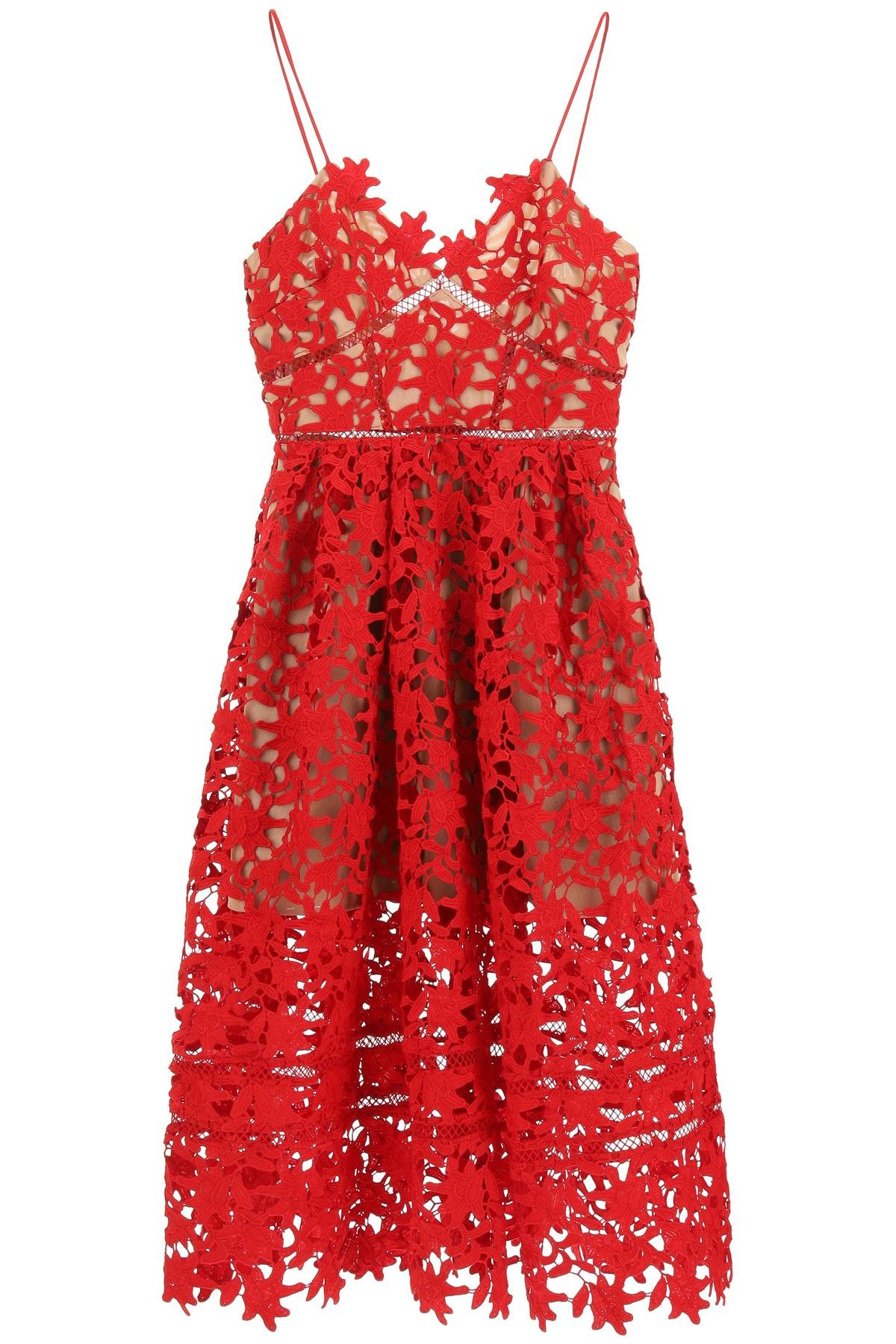 Self Portrait's Azaela red laced midi dress.
