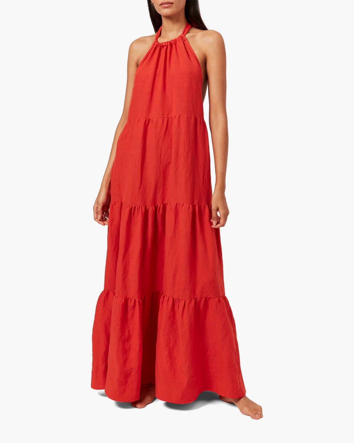 Solid & Striped's red halter neck maxi dress.