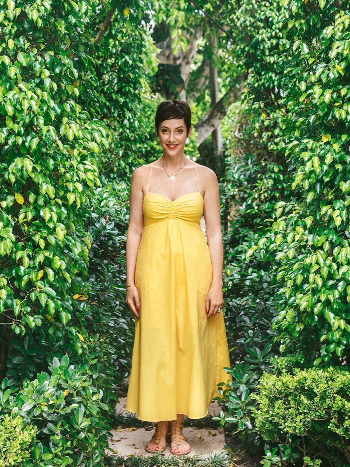 Kirna Zabete's yellow Marilyn spaghetti-strapped dress.