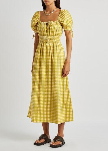Flora yellow checked cotton midi dress: additional image