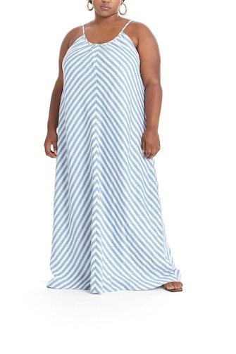 Pari Passu's striped plus size maxi dress.