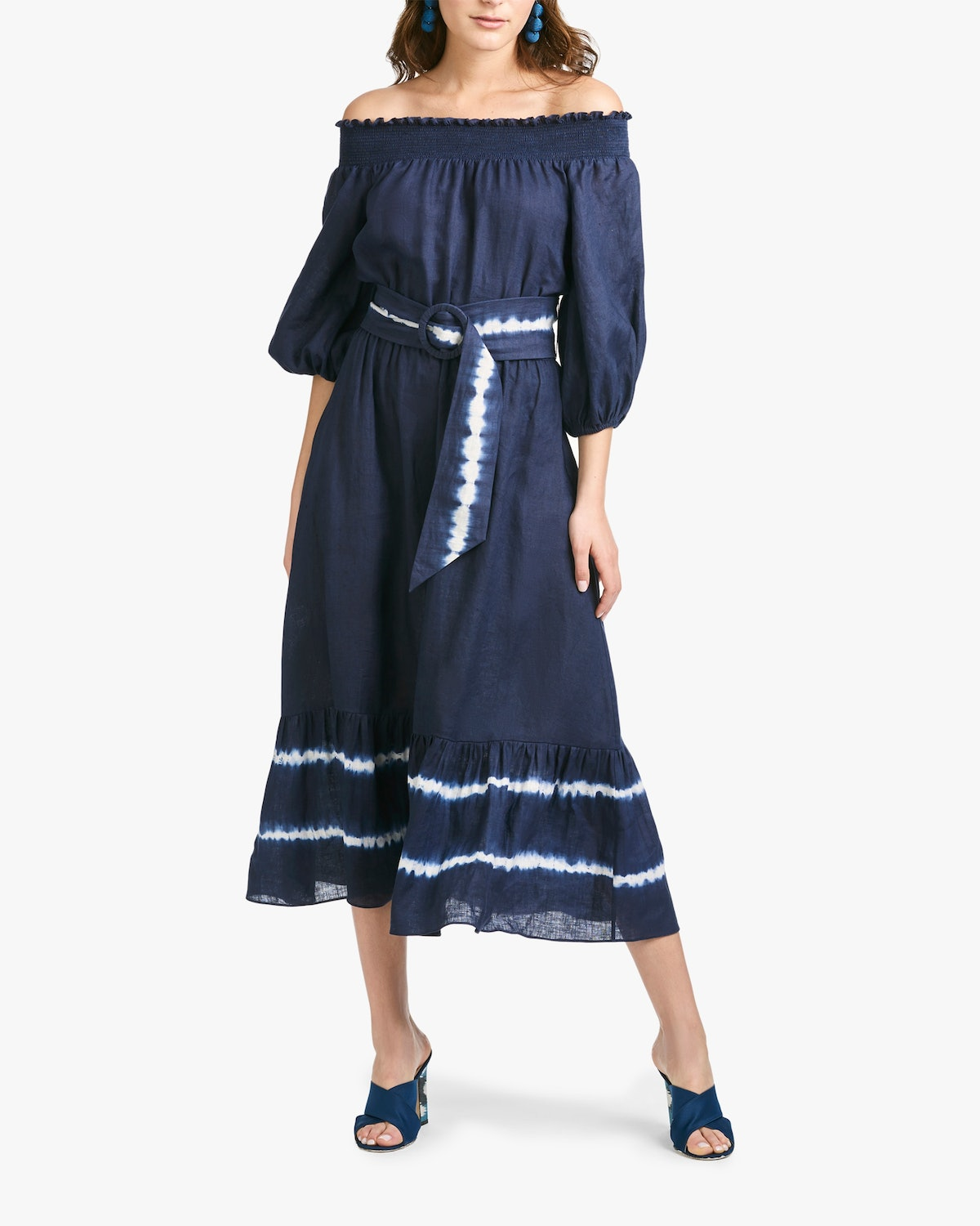 Sachin and Babi's Reese Off-Shoulder Dress with a tie-dye belt and hem.