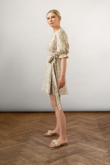 Willa Slub Silk Wrap Dress Sage: additional image