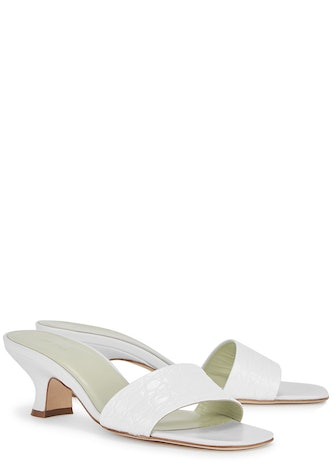 Freddy 50 white leather mules: image 1
