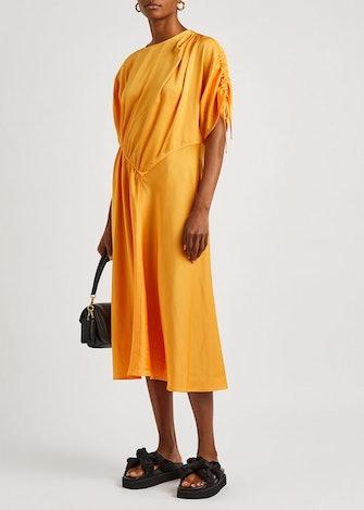 Davina orange satin midi dress: image 1