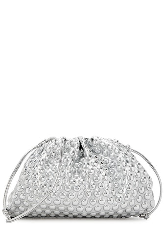 The Mini Pouch silver faux-leather clutch: image 1