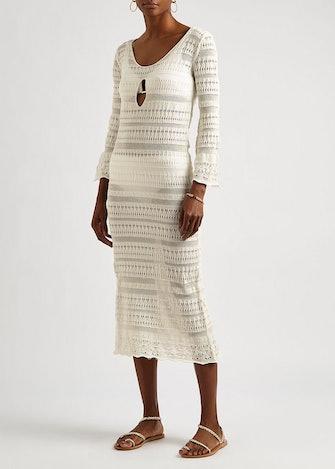 Brigitte white crochet-knit midi dress: image 1