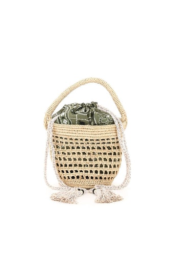 Alanui Filet Raffia Mini Bucket Bag: image 1